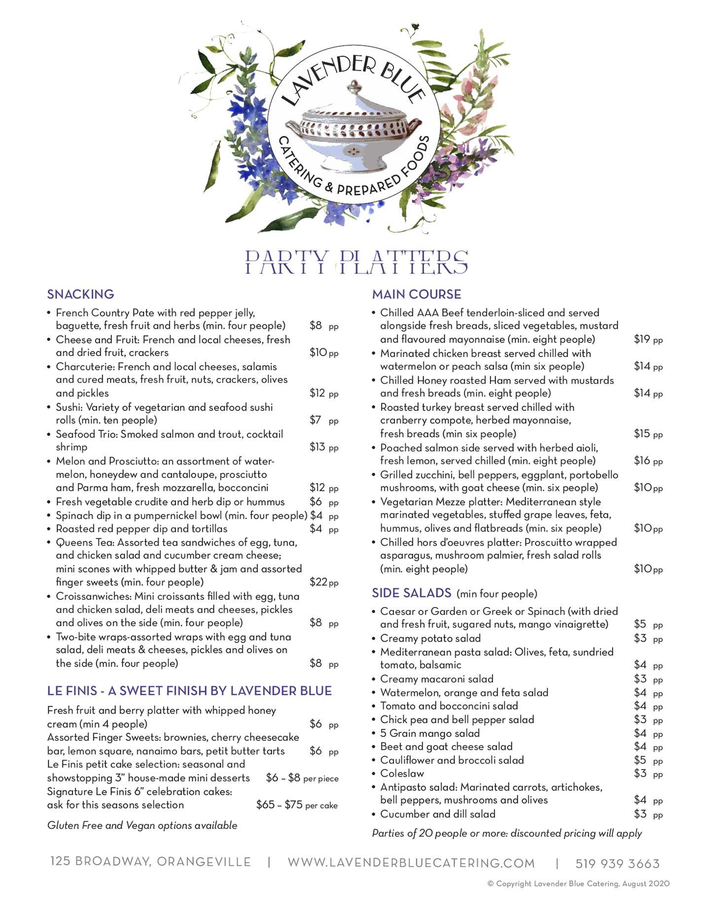 Party Platter Menu   Lavender Blue Catering