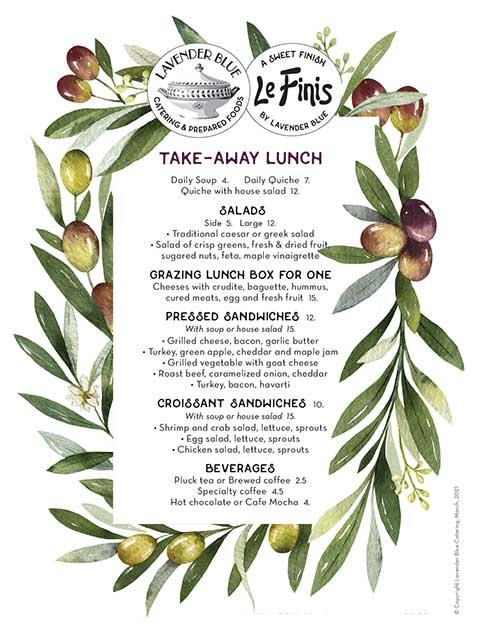 Take Away Lunch Menu